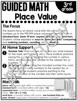 Home Connection Third Grade Guided Math