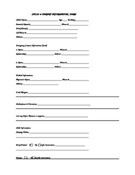 Home Day Care Enrollment packet