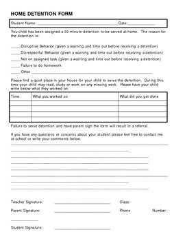 Home Detention Form