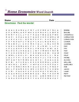 Home Economics Word Search