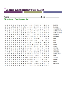 Home Economics Word Search