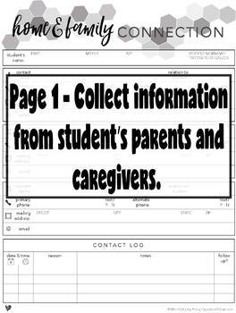 Home & Family Connection Communication Log - Black & White FREEBIE