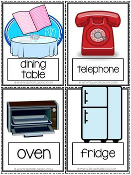 Home, Furniture & Ocassions Flashcards & Games {36 Flashcards & Games} ESL&G4-6