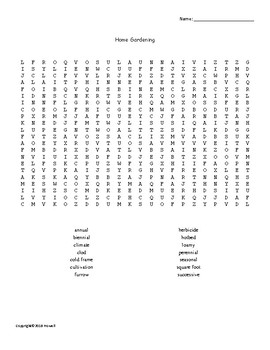 Home Gardening Word Search for Ag. Science Students