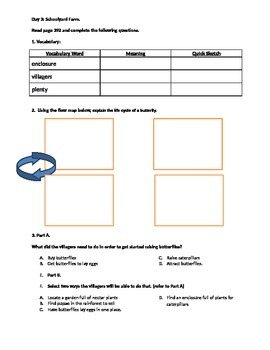 Home Grown Butterflies: Comprehension Packet
