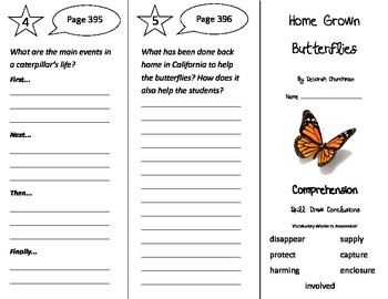 Home Grown Butterflies Trifold - Treasures 3rd Grade Unit 6 Week 5 (2009)