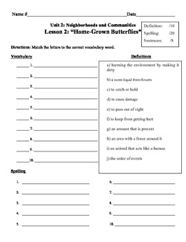 """Home-Grown Butterflies"" Vocabulary List and Test for Treasures"