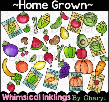 Home Grown~Fruits and Veggies Clipart Collection