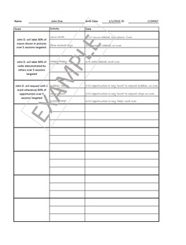 Home Health Therapy Goal and Data Sheet