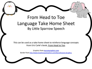 Home Language Practice for Eric Carle's From Head to Toe