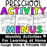 Preschool Activity Menus for Learning at Home