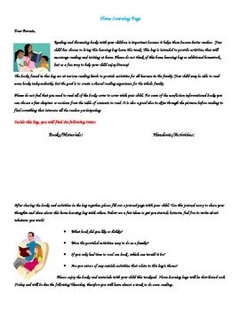 Home Learning Bag Parent Letter Template By Erin Murf TpT - Parent letter template