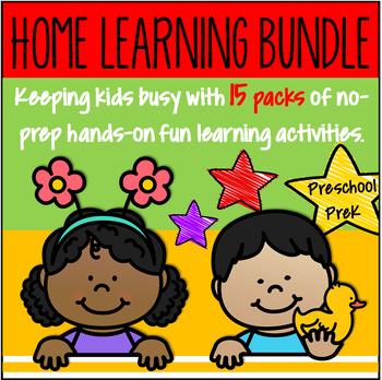 Distance Learning Bundle NO PREP for Preschool PreK -Alphabet Numbers Fine Motor