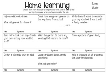 Home Learning - Choice Boards #Homework