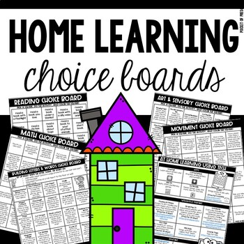 Home Learning Choice Boards for Preschool, Pre-K, and Kinder Distance Learning