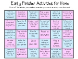 Home Learning Early Finishers Matrix