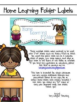 Home Learning Folder Labels