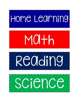 Home Learning Labels