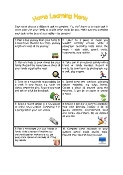 Home Learning Menu