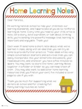 Letters to Parents: Home Learning Notes