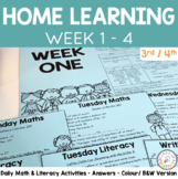 Distance Learning Pack: Week 1 - 4 Activities for 3rd/4th