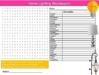 Home Lighting Wordsearch Puzzle Sheet Starter Activity Keywords Interior Design