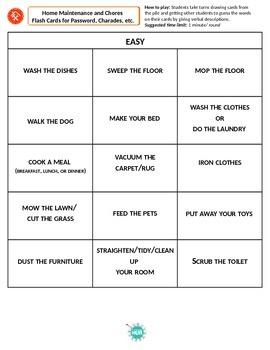 Home Maintenance_Chores_game cards_Matching_beginner+