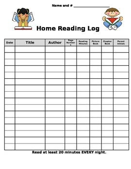 Home Nightly Reading Logs