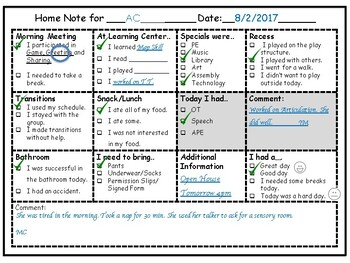 Home Note (Communication Log)