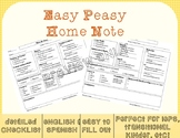 Super Easy & Informative Home Note (editable) - Spanish and English