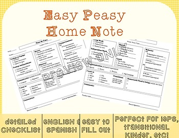Super Easy & Informative Home Note - Spanish and English