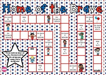 Home Of The Brave Patriotic Themed Game Board