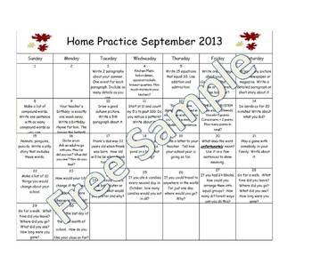 Home Practice Calendars