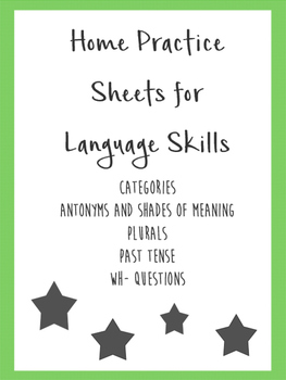 Home Practice Sheets for Language Skills Bundle