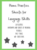 Home Practice Sheets for Language Skills Bundle