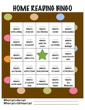 Home Reading Bingo
