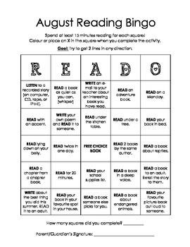 Home Reading Bingo - READO