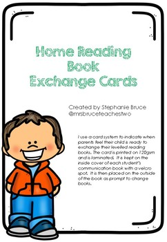 Home Reading Book Exchange Cards
