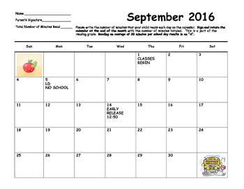 Home Reading Calendar