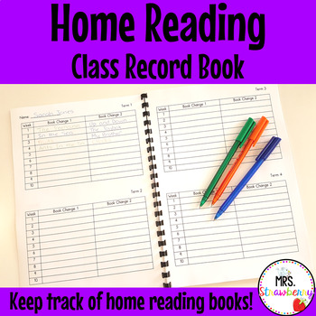 Home Reading Class Record Book for Teachers