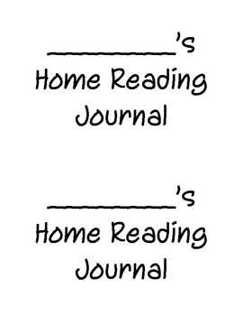Home Reading Journal - Kindergarten
