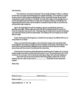 Home Reading Letter