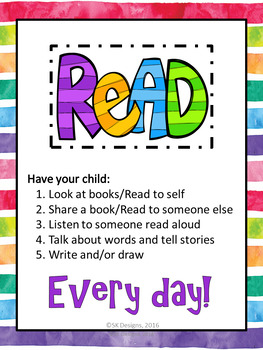 Reading Free Parent Letter and Poster