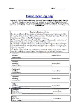 Home Reading Log & Rubric