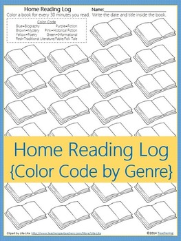 Home Reading Log {Students Color by Genre}