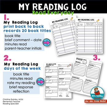 Reading Log -Home or School - [Primary Grades] -Track Books Read