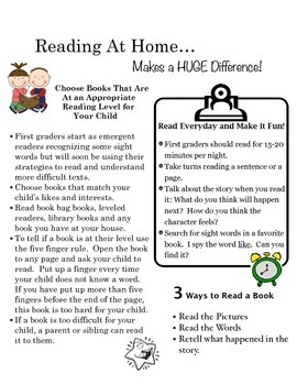 Home Reading Log with Parent Tips
