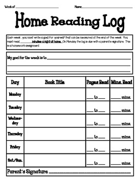 Home Reading Log with student goal