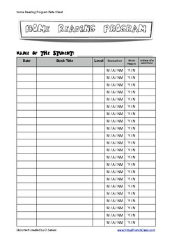 Home Reading Program Data Sheet - PRIMARY