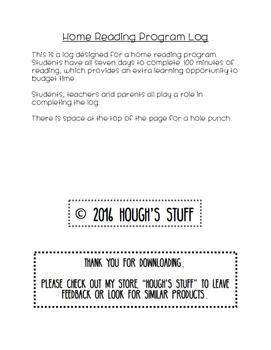 Home Reading Program Log